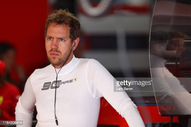 Sebastian Vettel of Germany and Ferrari prepares to drive in the garage during final practice for the F1 Grand Prix of Germany at Hockenheimring on...