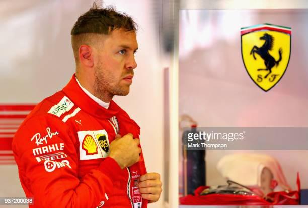 Sebastian Vettel of Germany and Ferrari prepares to drive in the garage during final practice for the Australian Formula One Grand Prix at Albert...