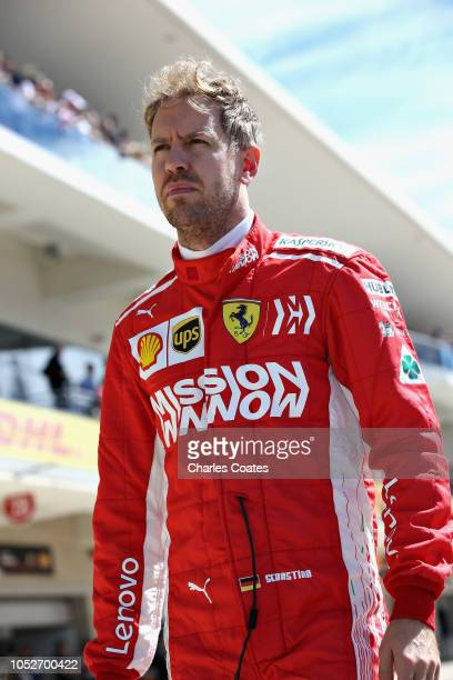 Sebastian Vettel of Germany and Ferrari prepares to drive on the grid before the United States Formula One Grand Prix at Circuit of The Americas on...
