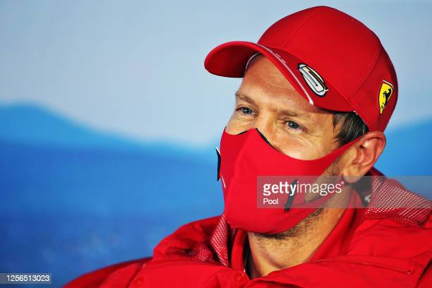 Sebastian Vettel of Germany and Ferrari talks in the Drivers Press Conference during previews for the F1 Grand Prix of Hungary at Hungaroring on July...