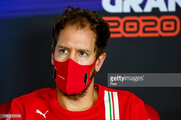 Sebastian Vettel of Germany and Ferrari talks in the Drivers Press Conference during previews ahead of the F1 Grand Prix of Abu Dhabi at Yas Marina...