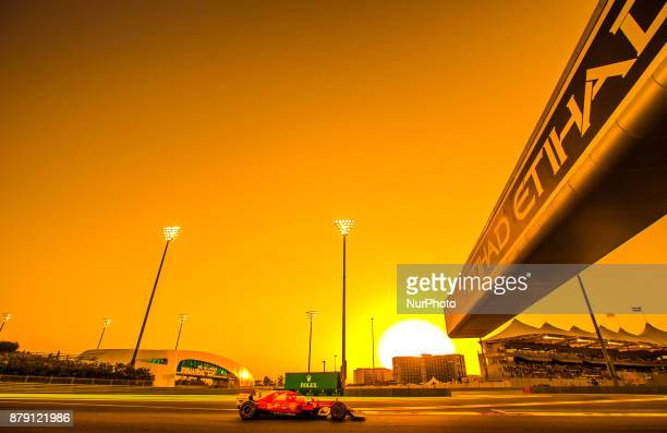Sebastian Vettel of Germany and Ferrari Team driver goes during the third practice at Formula One Etihad Airways Abu Dhabi Grand Prix on Nov 25 2017...