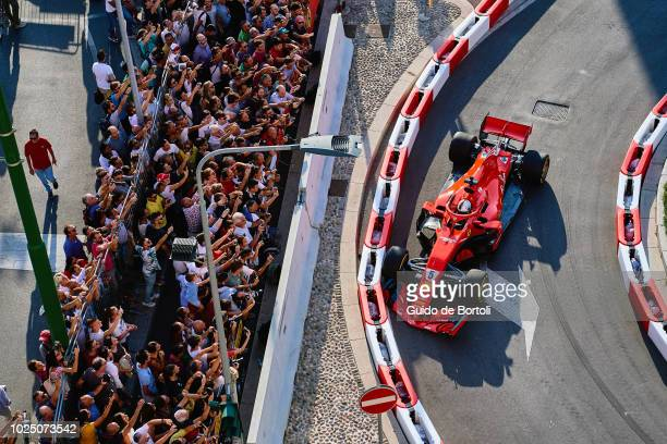Sebastian Vettel of Germany and Ferrari touches the wall during Formula 1 Milan Festival 2018 part of the Formula One Grand Prix of Italy at...