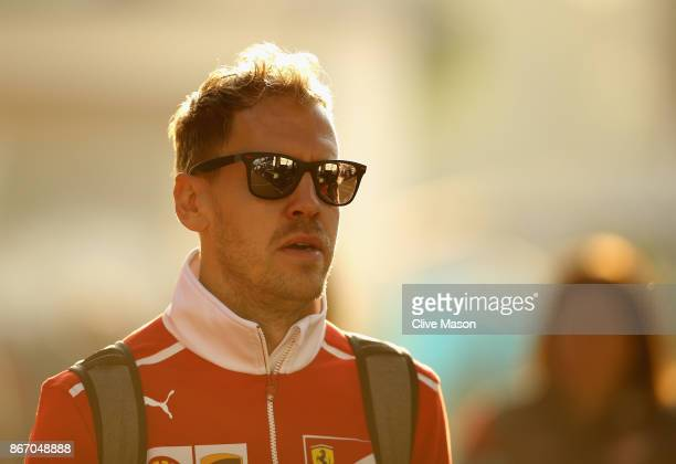 Sebastian Vettel of Germany and Ferrari walks in the Paddock before practice for the Formula One Grand Prix of Mexico at Autodromo Hermanos Rodriguez...