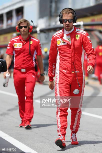 Sebastian Vettel of Germany and Ferrari walks in the Pitlane before the Canadian Formula One Grand Prix at Circuit Gilles Villeneuve on June 10 2018...