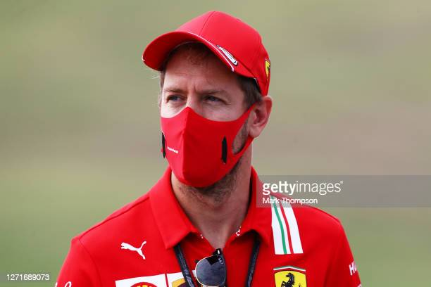 Sebastian Vettel of Germany and Ferrari walks the track during previews ahead of the F1 Grand Prix of Tuscany at Mugello Circuit on September 10,...