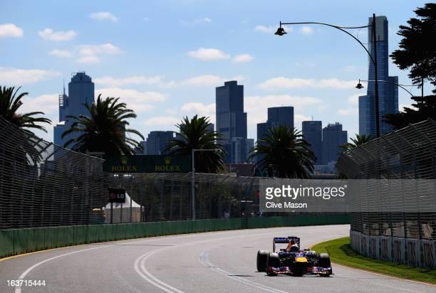 Sebastian Vettel of Germany and Infiniti Red Bull Racing drives during practice for the Australian Formula One Grand Prix at the Albert Park Circuit...
