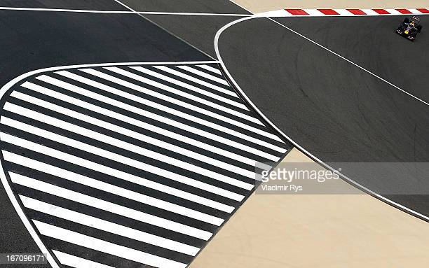 Sebastian Vettel of Germany and Infiniti Red Bull Racing drives during qualifying for the Bahrain Formula One Grand Prix at the Bahrain International...