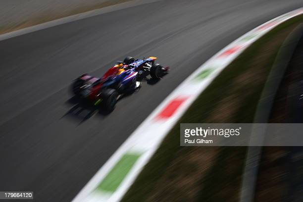 Sebastian Vettel of Germany and Infiniti Red Bull Racing drives during practice for the Italian Formula One Grand Prix at Autodromo di Monza on...