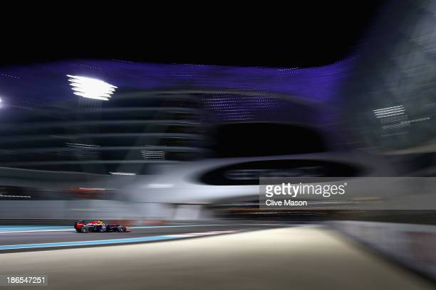 Sebastian Vettel of Germany and Infiniti Red Bull Racing drives during practice for the Abu Dhabi Formula One Grand Prix at the Yas Marina Circuit on...