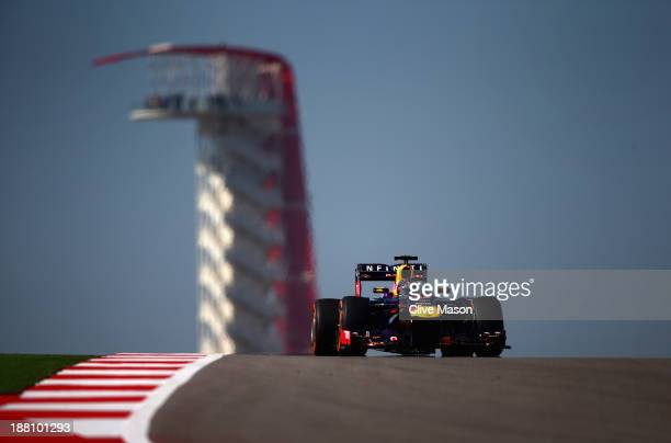 Sebastian Vettel of Germany and Infiniti Red Bull Racing drives during practice for the United States Formula One Grand Prix at Circuit of The...