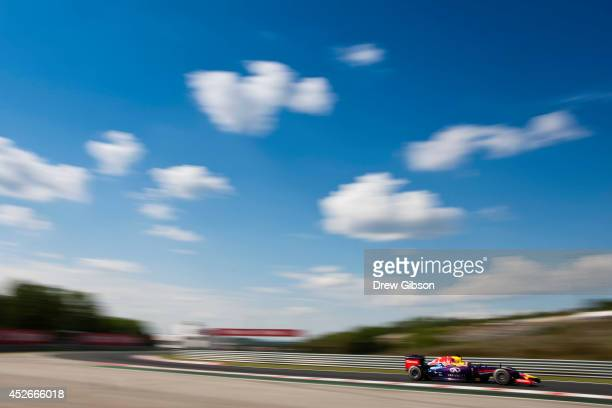 Sebastian Vettel of Germany and Infiniti Red Bull Racing drives during practice ahead of the Hungarian Formula One Grand Prix at Hungaroring on July...