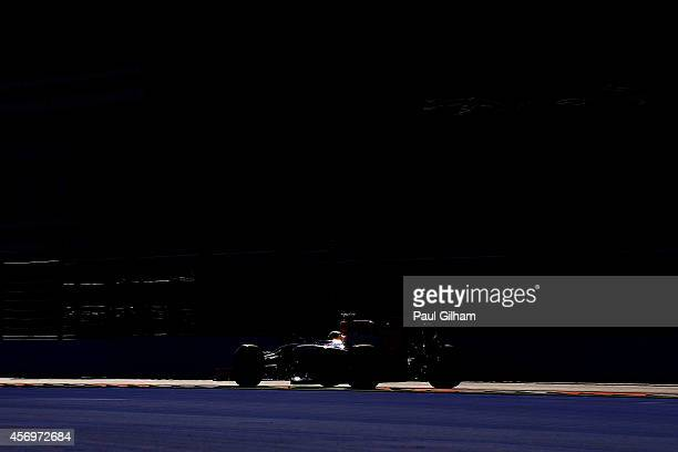 Sebastian Vettel of Germany and Infiniti Red Bull Racing drives during practice ahead of the Russian Formula One Grand Prix at Sochi Autodrom on...