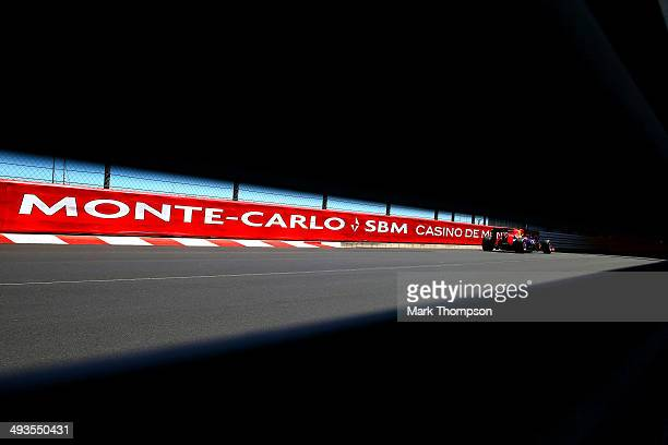 Sebastian Vettel of Germany and Infiniti Red Bull Racing drives during qualifying ahead of the Monaco Formula One Grand Prix at Circuit de Monaco on...