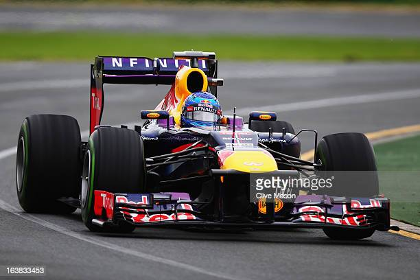 Sebastian Vettel of Germany and Infiniti Red Bull Racing drives on his way to finishing first during the weather delayed qualifying session for the...