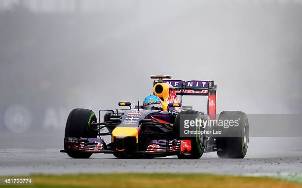 Sebastian Vettel of Germany and Infiniti Red Bull Racing drives during final practice ahead of the British Formula One Grand Prix at Silverstone...