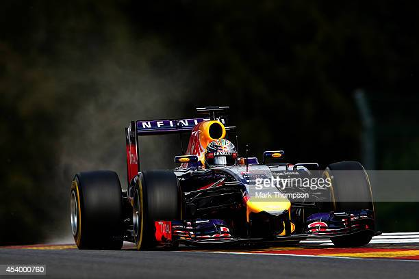 Sebastian Vettel of Germany and Infiniti Red Bull Racing drives during final practice ahead of the Belgian Grand Prix at Circuit de SpaFrancorchamps...