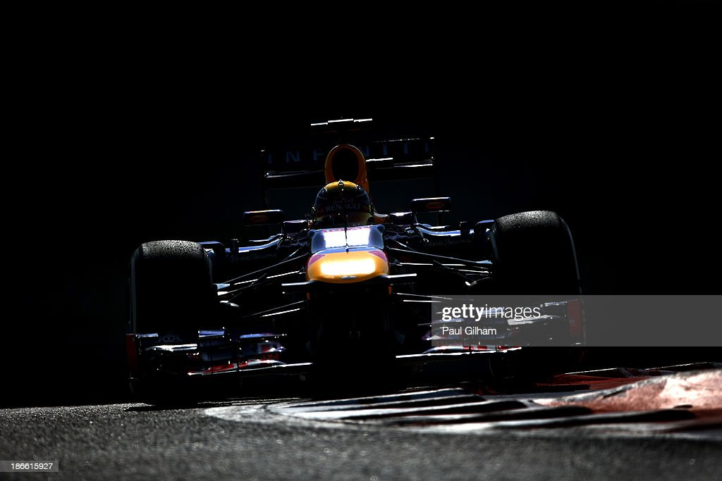 Sebastian Vettel of Germany and Infiniti Red Bull Racing drives during the final practice session prior to qualifying for the Abu Dhabi Formula One Grand Prix at the Yas Marina Circuit on November 2, 2013 in Abu Dhabi, United Arab Emirates.