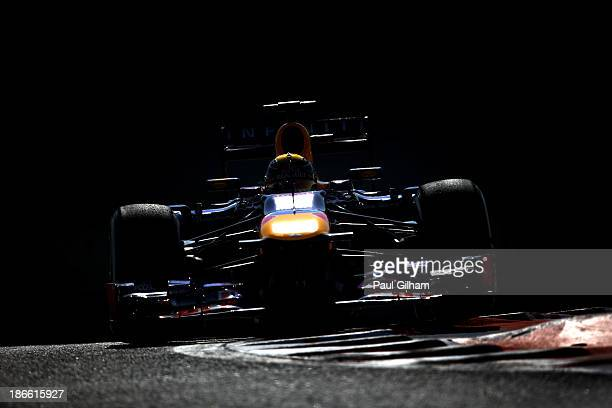 Sebastian Vettel of Germany and Infiniti Red Bull Racing drives during the final practice session prior to qualifying for the Abu Dhabi Formula One...