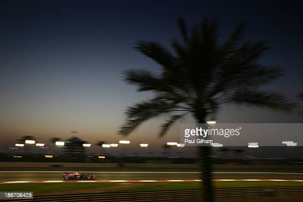 Sebastian Vettel of Germany and Infiniti Red Bull Racing drives during the Abu Dhabi Formula One Grand Prix at the Yas Marina Circuit on November 3...