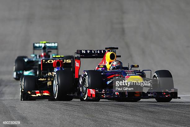 Sebastian Vettel of Germany and Infiniti Red Bull Racing drives during the United States Formula One Grand Prix at Circuit of The Americas on...