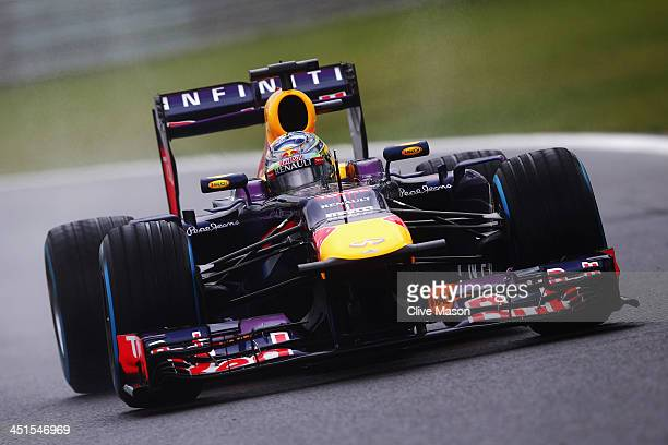 Sebastian Vettel of Germany and Infiniti Red Bull Racing drives during the final practice session prior to qualifying for the Brazilian Formula One...