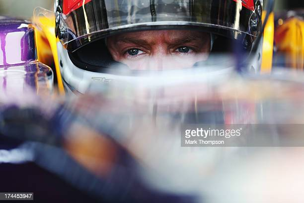 Sebastian Vettel of Germany and Infiniti Red Bull Racing prepares to drive during practice for the Hungarian Formula One Grand Prix at Hungaroring on...