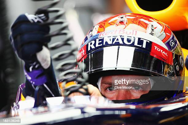 Sebastian Vettel of Germany and Infiniti Red Bull Racing prepares to during the final practice session prior to qualifying for the Korean Formula One...