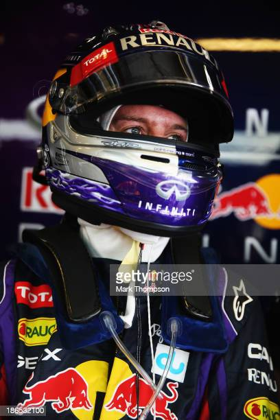Sebastian Vettel of Germany and Infiniti Red Bull Racing prepares to drive during practice for the Abu Dhabi Formula One Grand Prix at the Yas Marina...