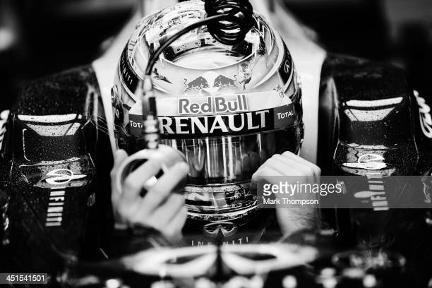 Sebastian Vettel of Germany and Infiniti Red Bull Racing prepares to drive during the final practice session prior to qualifying for the Brazilian...