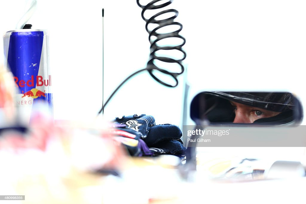 Sebastian Vettel of Germany and Infiniti Red Bull Racing prepares to drive during practice for the Malaysia Formula One Grand Prix at the Sepang Circuit on March 28, 2014 in Kuala Lumpur, Malaysia.