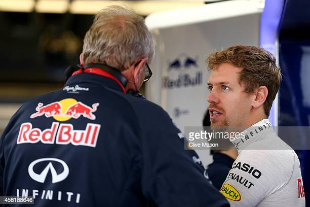 Sebastian Vettel of Germany and Infiniti Red Bull Racing speaks with team consultant Dr Helmut Marko in the garage during practice ahead of the...