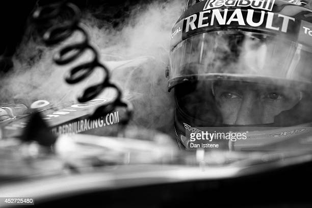 Sebastian Vettel of Germany and Infiniti Red Bull Racing uses dry ice to keep cool in the garage during final practice ahead of the Hungarian Formula...