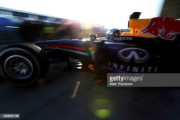 Sebastian Vettel of Germany and Infiniti Red Bull Racingleaves the garage during Formula One winter testing at Circuito de Jerez on February 7 2013...