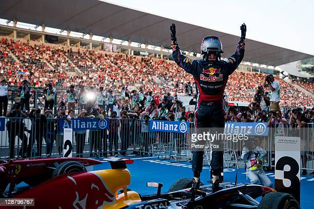 Sebastian Vettel Of Germany and Red Bull becomes the 2011 Formula One World Champion at the Japanese Formula One Grand Prix at Suzuka Circuit on...