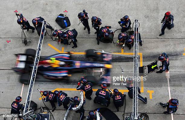 Sebastian Vettel of Germany and Red Bull Racing comes in for a pitstop during the Malaysian Formula One Grand Prix at the Sepang Circuit on April 5...