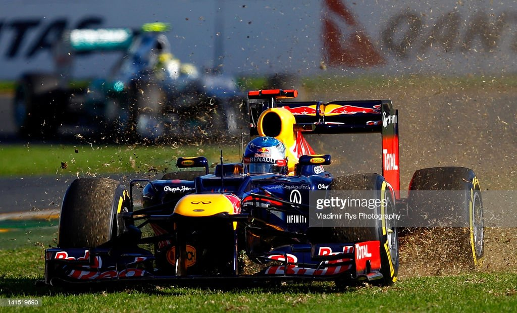 Sebastian Vettel of Germany and Red Bull Racing comes off the track during the Formula One Grand Prix of Australia at Albert Park circuit on March 18, 2012 in Melbourne, Australia.