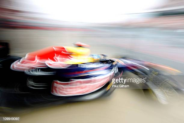 Sebastian Vettel of Germany and Red Bull Racing drives during day four of the final winter testing at the Circuit de Catalunya on March 11, 2011 in...