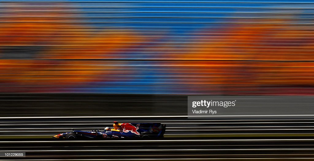 Sebastian Vettel of Germany and Red Bull Racing drives during practice for the Turkish Formula One Grand Prix at Istanbul Park on May 28, 2010, in Istanbul, Turkey.