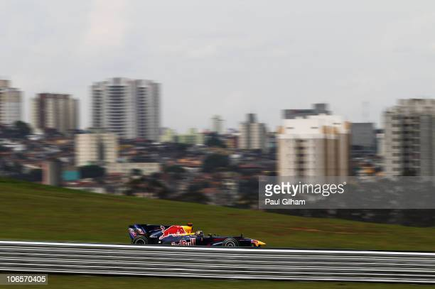 Sebastian Vettel of Germany and Red Bull Racing drives during practice for the Brazilian Formula One Grand Prix at the Interlagos Circuit on November...