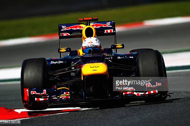 Sebastian Vettel of Germany and Red Bull Racing drives during practice for the Spanish Formula One Grand Prix at the Circuit de Catalunya on May 11,...