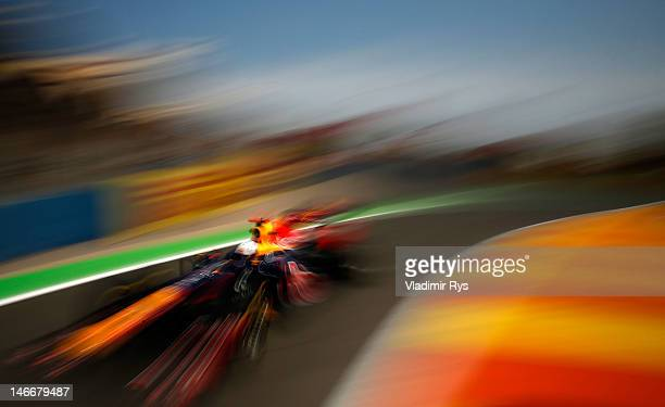 Sebastian Vettel of Germany and Red Bull Racing drives during practice for the European Grand Prix at the Valencia Street Circuit on June 22, 2012 in...