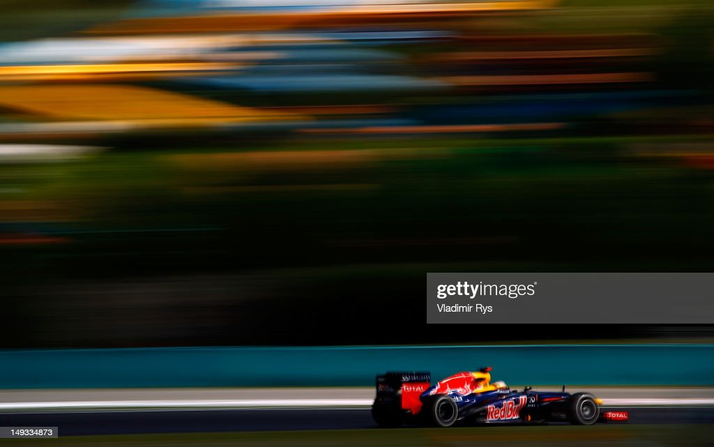 Sebastian Vettel of Germany and Red Bull Racing drives during practice for the Hungarian Formula One Grand Prix at the Hungaroring on July 27, 2012 in Budapest, Hungary.