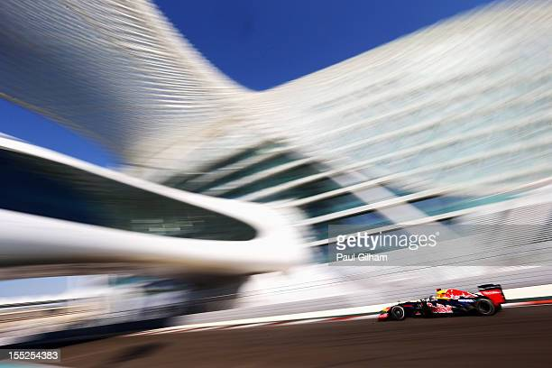 Sebastian Vettel of Germany and Red Bull Racing drives during practice for the Abu Dhabi Formula One Grand Prix at the Yas Marina Circuit on November...