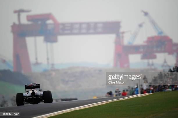 Sebastian Vettel of Germany and Red Bull Racing drives during the final practice session prior to qualifying for the Korean Formula One Grand Prix at...