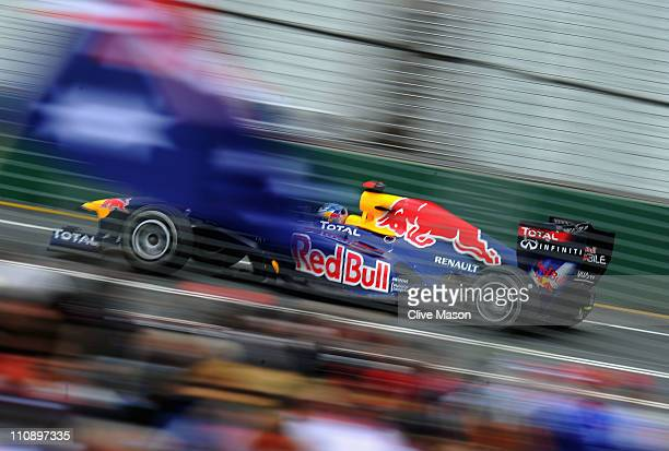 Sebastian Vettel of Germany and Red Bull Racing drives during the final practice session prior to qualifying for the Australian Formula One Grand...