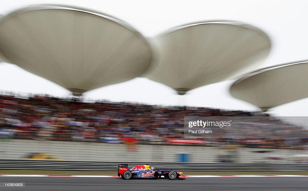 Sebastian Vettel of Germany and Red Bull Racing drives during the Chinese Formula One Grand Prix at the Shanghai International Circuit on April 15, 2012 in Shanghai, China.