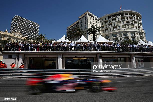 Sebastian Vettel of Germany and Red Bull Racing drives during the final practice session prior to qualifying for the Monaco Formula One Grand Prix at...