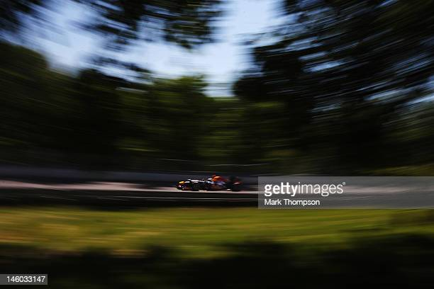 Sebastian Vettel of Germany and Red Bull Racing drives during the final practice session prior to qualifying for the Canadian Formula One Grand Prix...