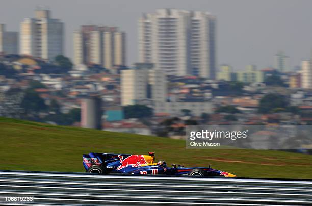 Sebastian Vettel of Germany and Red Bull Racing drives on his way to winning the Brazilian Formula One Grand Prix at the Interlagos Circuit on...